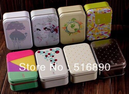 free shipping 8pcs lot popular painting series tin storage box