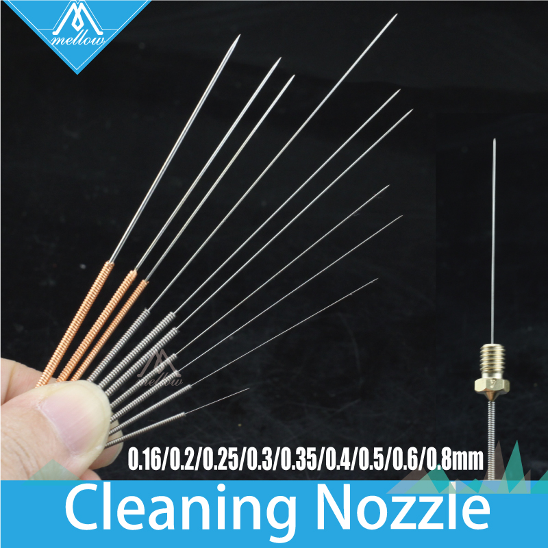 10pcs 3D Printer accessories Reprap Makerbot Mendel Ultimaker Reprap Nozzle cleaning needle 0.16mm--0.4mm--0.8mm for MK7 or MK8