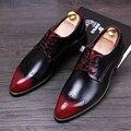 Hombres Brogue Zapatos de cuero Genuino Transpirable Pisos Punta estrecha Oxfords zapatos de Vestir de Cuero Masculino Ocasional chaussure homme 022