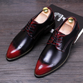 Men Brogue Shoes Genuine leather Breathable Flats Pointed Toe Male Casual Leather shoes Oxfords Dress shoes chaussure homme 022