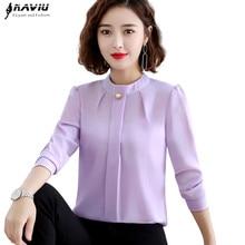 أنيقة قميص المرأة 2019 الخريف جديد طويل الأكمام الوقوف طوق مزاجه بلوزة شيفون مكتب السيدات بلوزات حجم كبير