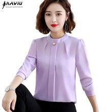 Elegant Shirt Women 2019 Autumn New Long Sleeve Stand Collar Temperament Chiffon Blouse Office Ladies Plus Size Tops