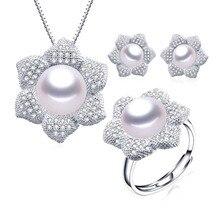 Veamor высокое качество 925 Стерлингов Серебряные комплекты ювелирных изделий для женщин Мода натуральный пресноводный жемчуг цепочки и ожерел