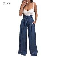 2017 Autumn Winter High Waist Wide Leg Pants Women Bow Tie Up Sash Pockets Casual Long