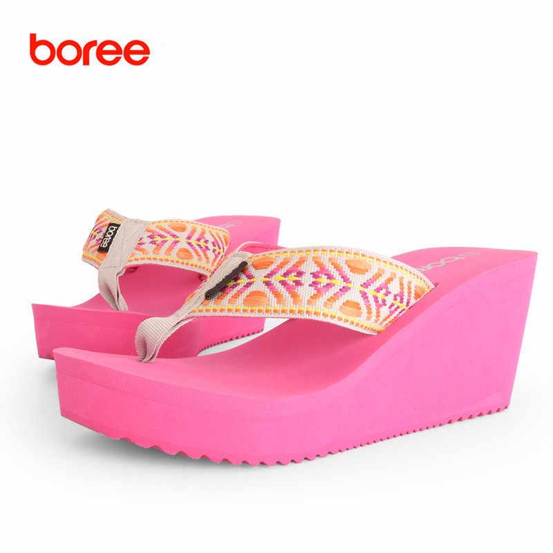 5c225f1519 Boree 2016 New Summer Beach Women's Fashion Flip Flops Casual Sandal Shoes  Leisure Flatform Slippers Ribbon Platform Solid 85508