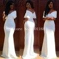 Branco Sereia Plus Size Vestidos Formais Africanos Vestidos de Baile 2016 Mangas Curtas Até O Chão Robe Dubai Vestidos de Noite Longos