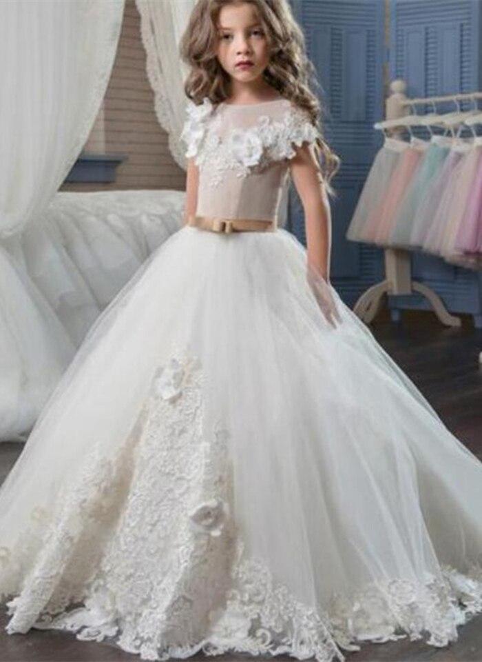Cap Sleeves 2019 Flower Girl Dresses For Weddings Ball Gown Tulle Lace Flowers Long First Communion Dresses For Little Girls