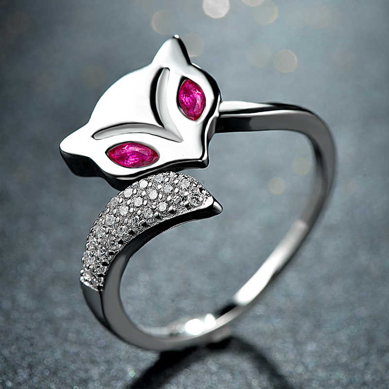 คุณภาพสูงสีชมพู Fox Zirconia สัตว์แหวนจริง S925 เงินสเตอร์ลิงออสเตรียคริสตัลแหวนปรับขนาดได้ขายส่ง