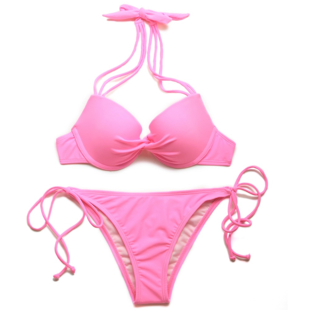 Colloyes 2016 New <font><b>Sexy</b></font> <font><b>Pink</b></font> Add-2-Cups <font><b>Halter</b></font> <font><b>Top</b></font> <font><b>Bikini</b></font> <font><b>Swimwear</b></font> <font><b>Set</b></font> with Push-up Molded Cups in Low Price