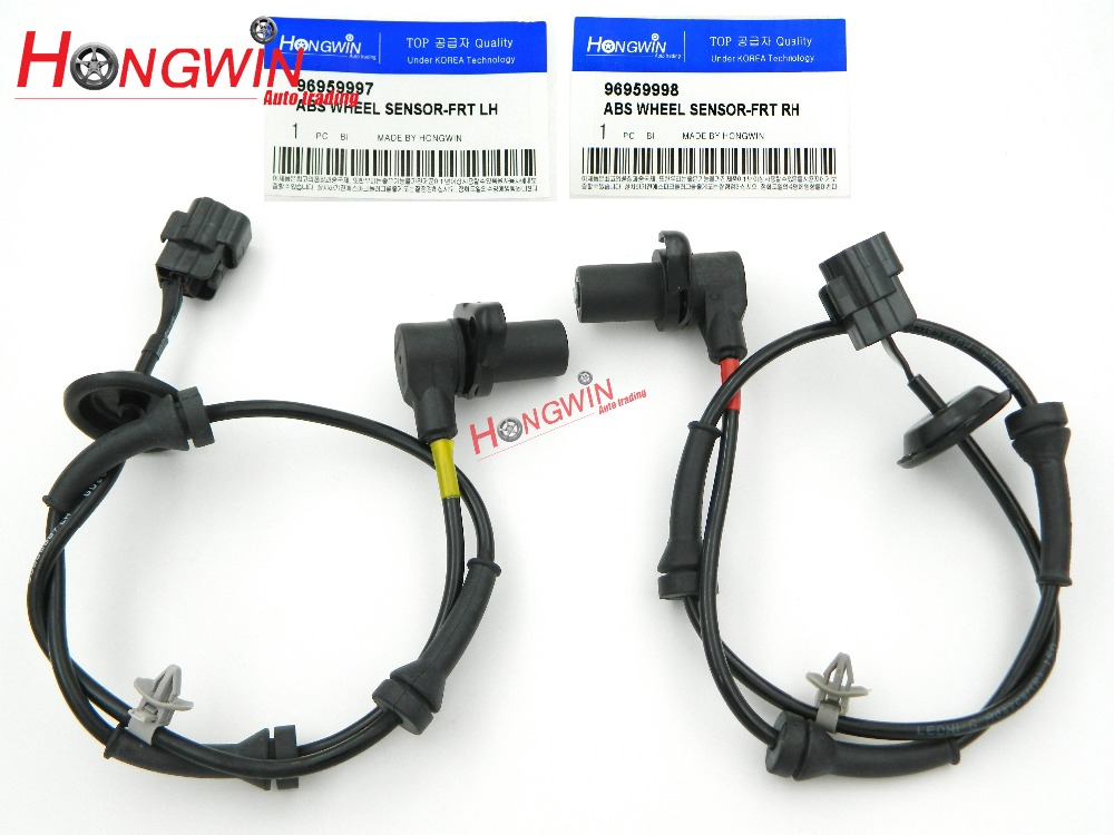 2 stks OEM GEEN.: 96959997/96959998 2 stks ABS Wheel Speed Sensor Past Chevrolet Aveo Aveo5 2004-2011 Front Links/Rechts
