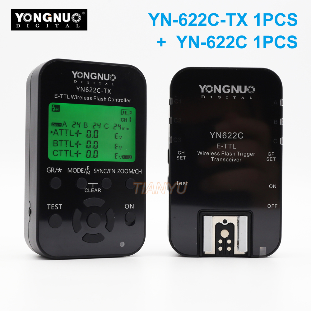 Yn Yongnuo YN622C + YN-622C-TX KIT Wireless TTL HSS Flash Trigger for Canon 1200D 1100D 1000D 800D 750D 650D 600D 550D 500D 5DII