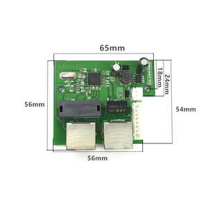 Image 2 - OEM factory direct mini fast 10/100mbps 2 port ethernet network lan hub switch board two layer pcb 2 rj45 1*8pin head port