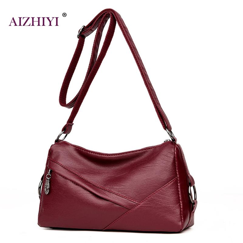 Women Messenger Bags Handbag Square Retro PU Leather Solid Color Crossbody Bag for Women Ladies Black Wine Red Shoulder Bags