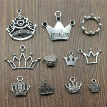 15pcs/lot Crown Charms Antique Silver Color Princess Crown Charms Pendants For Bracelets Imperial Crown Charms Making Jewelry(China)