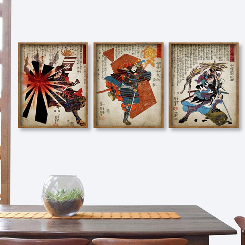 Us 2 57 30 Off Vintage Anese Samurai Warrior Print Woodblock Art Ilration Posters Canvas Painting Pictures Home Oriental Wall Decor In
