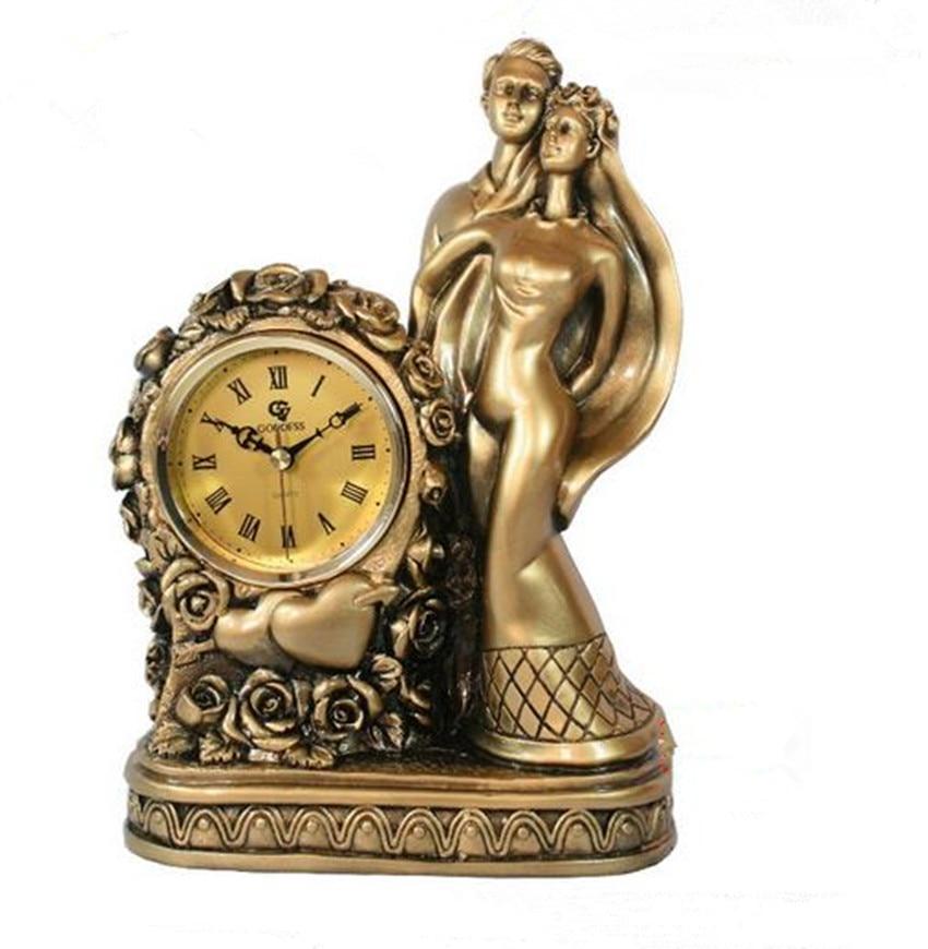 Wedding Clock Gift: European Antique Clock Wedding Gift Resin Crafts Home
