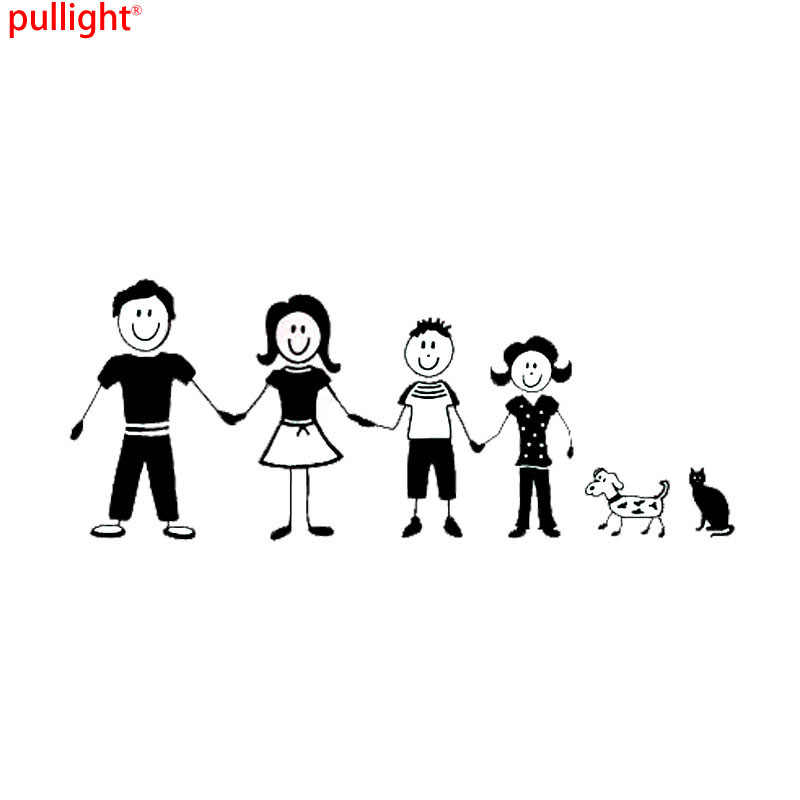 Hot Sell Cartoon Stick Figure Family Car Stickers Personalized Vinyl Decals Covering
