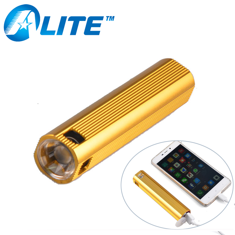 [FREE SHIP] Multi-Function Powerful Q5 Led Build-In Battery USB Port Power Bank Flash Light Lamp Torch With Powerbank