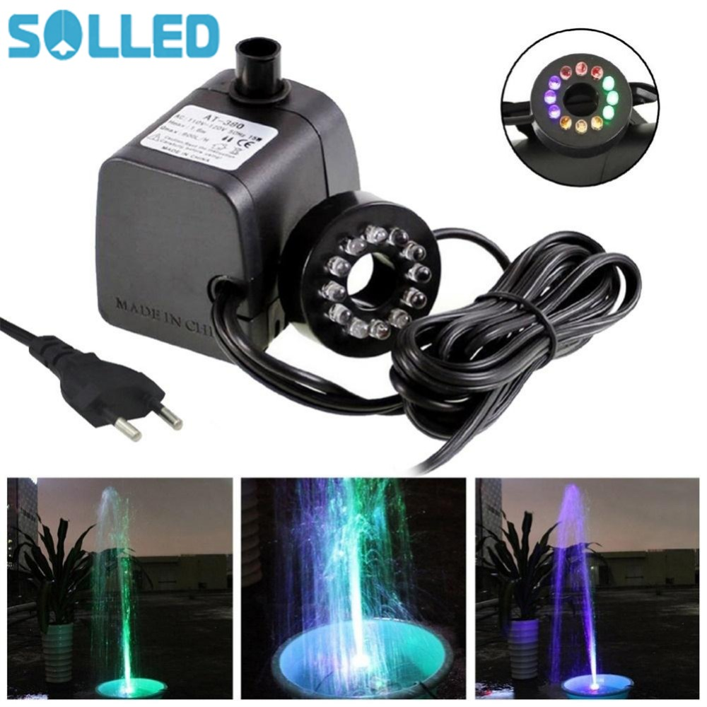 Solled Mini Submersible Water Pump With Led Light For