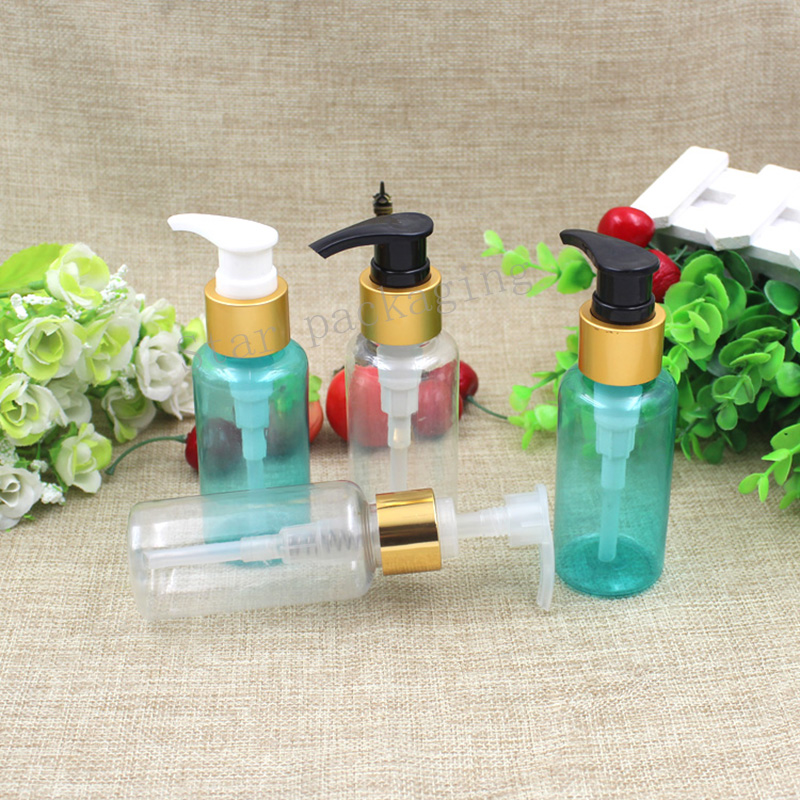 50pcs lot 80ml Golden Lotion Bottle Pump Small Size for Shower Gel Shampoo Plastic Empty Bottle
