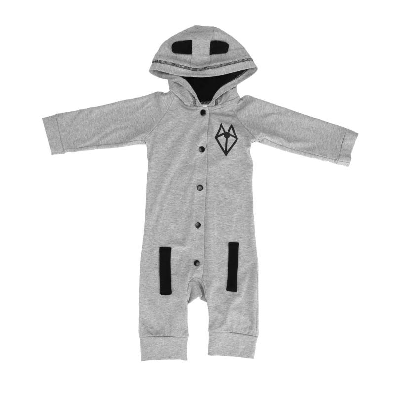 One-Piece Newborn Baby Infant Clothing Romper Gray Cotton Fox Tail Pattern Hooded Long Sleeve Romper Jumpsuit For Baby