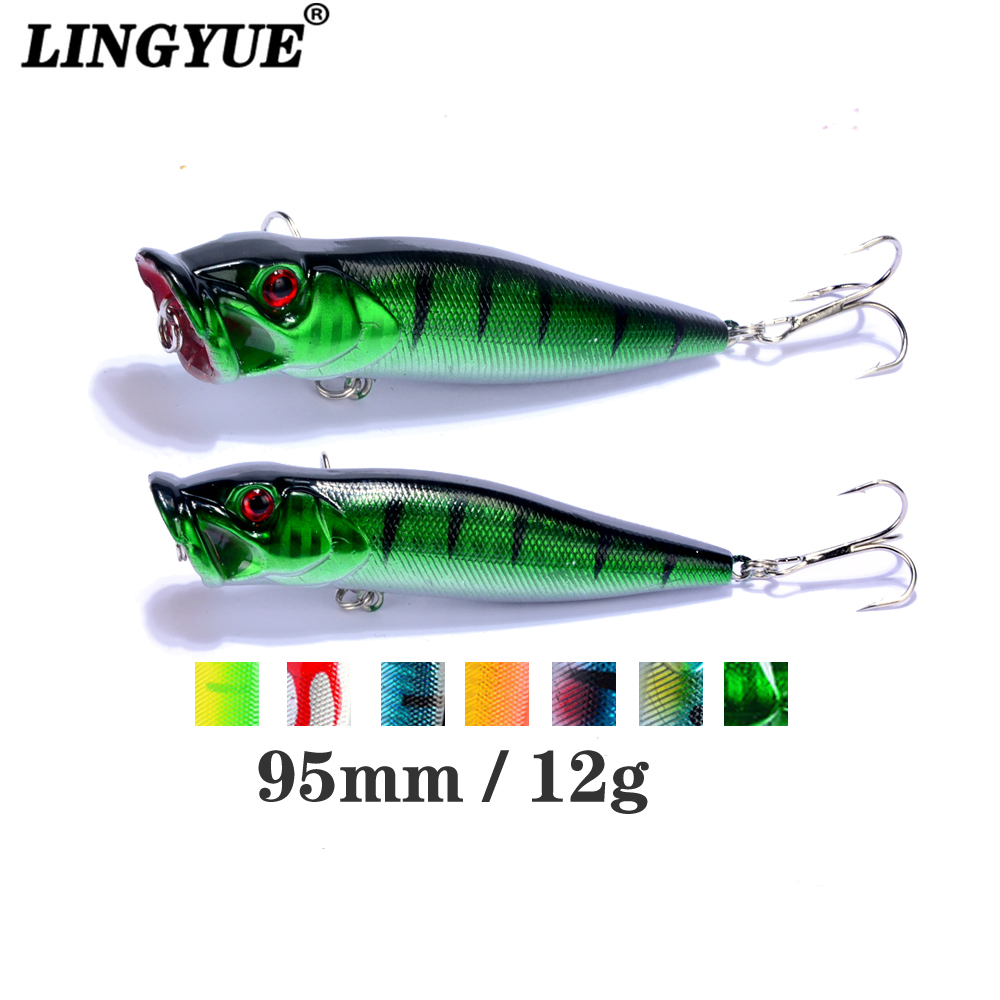 1PCS New Hard Poper Fishing Lure 9.5cm 12g Topwater Fish Baits 4# Hooks Tackle recoil starter assembly for zenoah gw26i g260 26cc rc boat g290 g300 g320 pu pum puh pull starter assy komatsu part