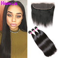 3Bundles Brazilian Straight Hair With Frontal Closure 13x4Full Lace Closure Ear To Ear With Bundles Human Hair With Weft Closure