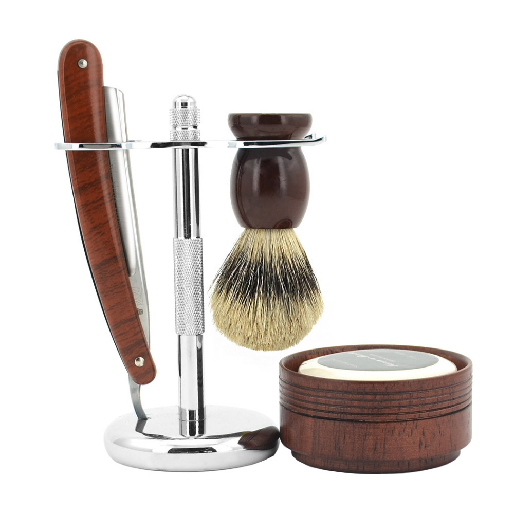 ZY 5in1 Shave Ready Vintage Straight Razor Set,Cut Throat Floating Knife, Badger Hair Brush +Wood Bowl+Soap+razor+stand