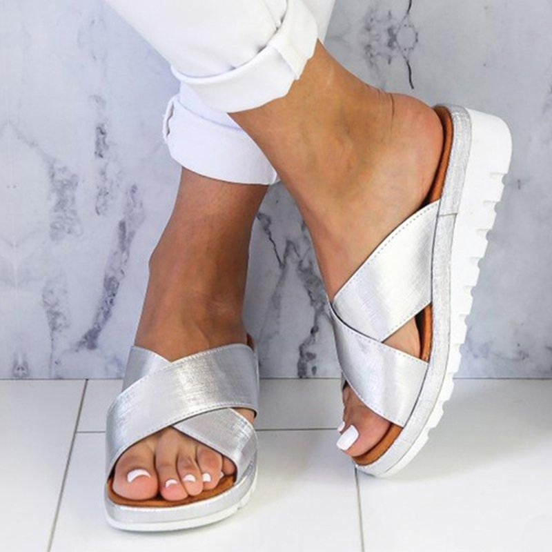 Wedges Shoes Slippers Beach-Sandals Open-Toe Female Roman Womens Ladies Fashion for Thick-Bottom