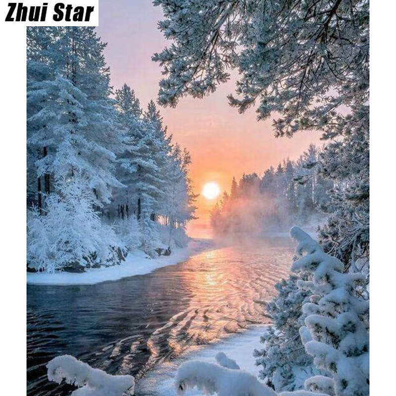 New Diamond painting cross stitch Winter wonderland 3d Diy Diamond Embroidery Pasted Square mosaic full Drill home decor ZS