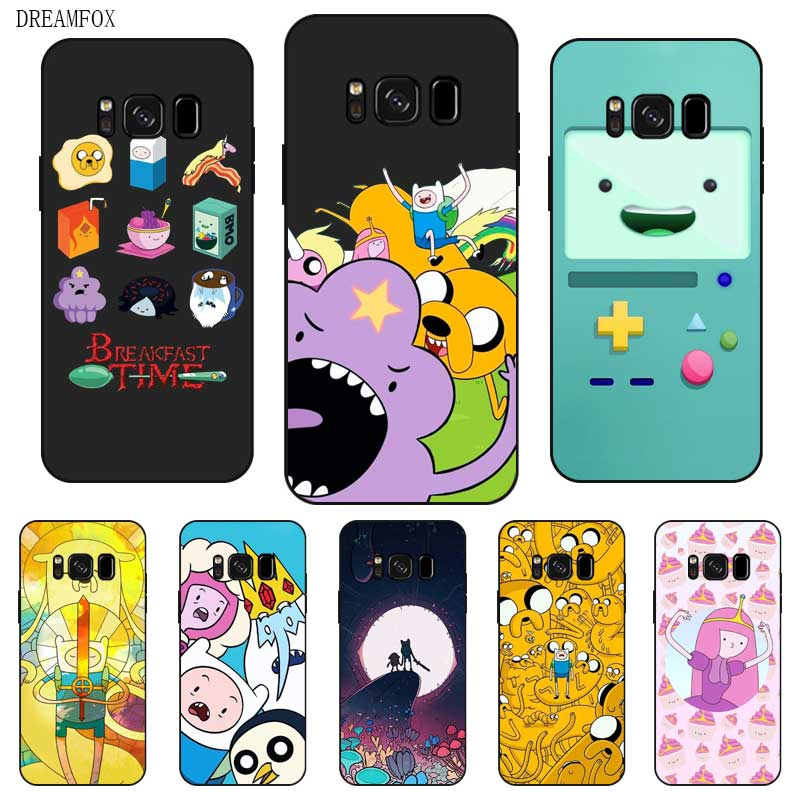 P001 Adventure Time Black Silicone Case Cover For Samsung Galaxy S5 S6 S7 S8 S9 S10 S10E Lite Edge Plus in Fitted Cases from Cellphones Telecommunications