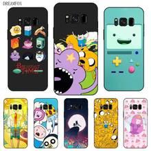 цена на P001 Adventure Time Black Silicone Case Cover For Samsung Galaxy S5 S6 S7 S8 S9 S10 S10E Lite Edge Plus