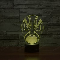 7 Colors Changing Beijing Opera Face Gradient 3D Visual LED Night Light For Kids Gifts Baby