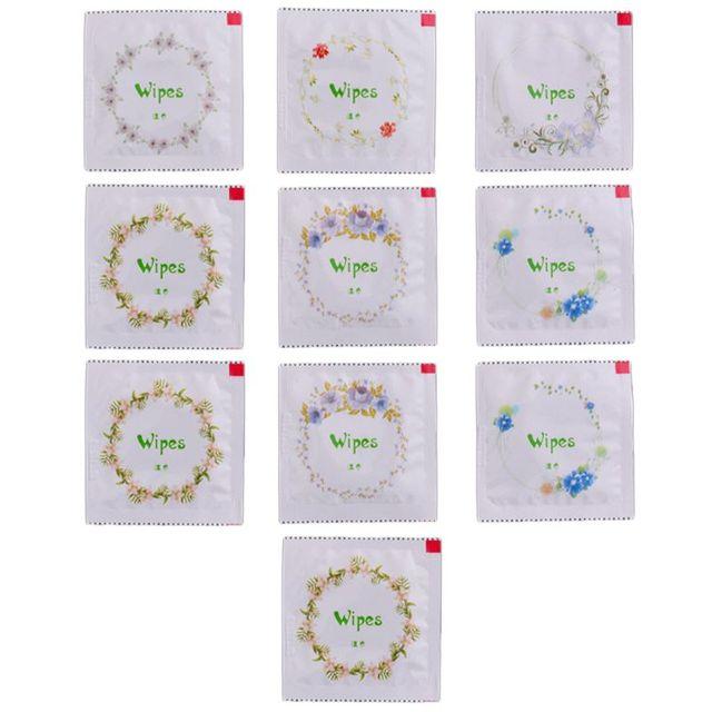 10x мультфильм цветочный принт презерватив форма влажные салфетки ручная чистка лица путешествия