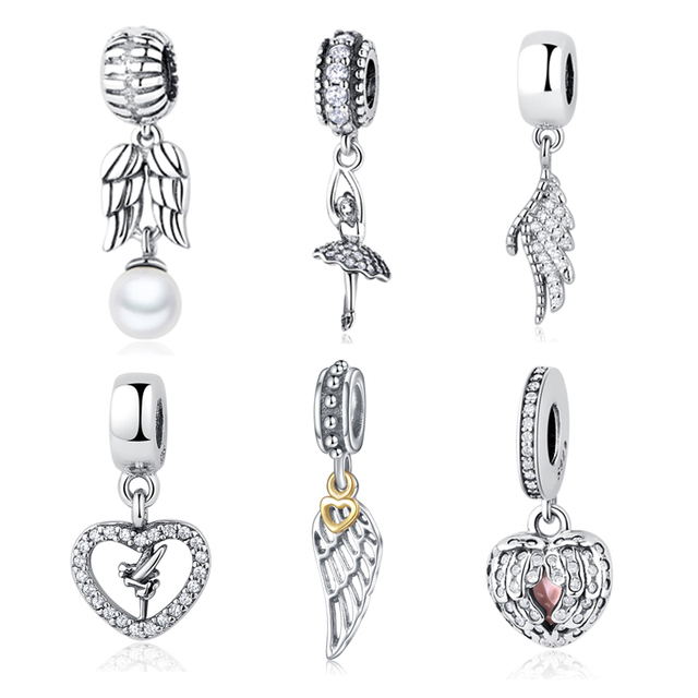 Original 925 Sterling Silver Bead Charm Angel Wing Feather Love Heart Vintage Beads Fit Pandora Bracelets
