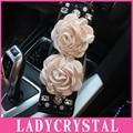 Ladycrystal 1 Par Hombreras Cubierta de La Correa Linda Rosa de Cristal Del Coche Asiento de Coche de Seguridad Cinturones de seguridad de Hombro Acolchado Atuo Accesorios