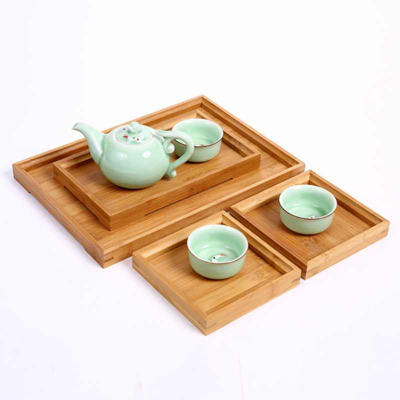 Japanese Bamboo Square Food Tray Solid Wood Tea Set Tray Home Breakfast Tray Cake Tray Flower Pot Bonsai Gardening Holder