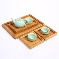 日本の竹の正方形の食品トレイ木製茶セットトレイホーム朝食トレイケーキトレイ植木鉢盆栽園芸ホルダー