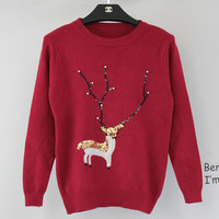 Christmas Gifts New Winter Women Sweater Christmas Deer Sequin Pullover Short Casual Sweater Cartton Pattern Warm Sweaters TT121