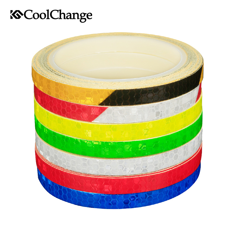 CoolChange Bicycle Reflective Stickers 1CM*800CM MTB Bike Motorcycle Fluorescent Decal Tape Safety Warning Cycling Accessories