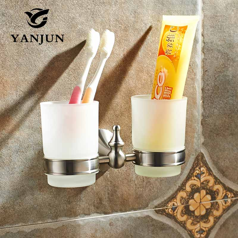 Yanjun 304 Stainless Steel Double  Cup Tumbler Holder Wall Mounted Toothbrush Cup Holder  Bathroom Accessories  YJ 7465|tumbler holder|bathroom accessories|bathroom cup holder - title=