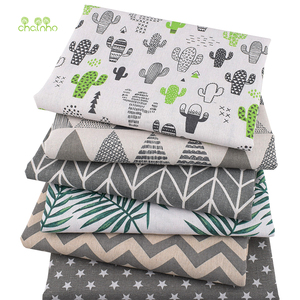 Chainho,6pcs/Lot,Gray Color Series Patchwork Printed Cotton Linen Fabric For DIY Quilting&Sewing Placemats,Bags Material,25x45cm