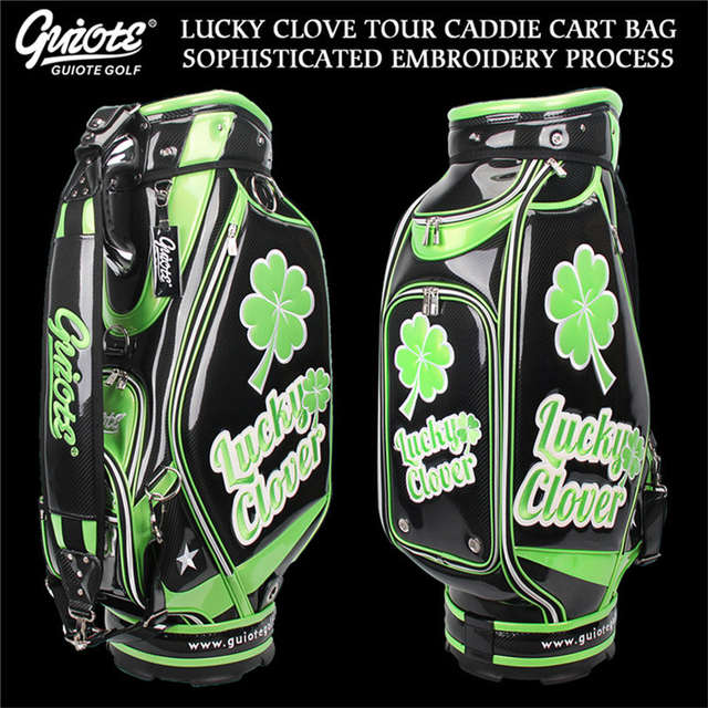 US $394 84 21% OFF|[2 Colors] Lucky Clover Golf Caddie Cart Bag PU Leather  Golf Tour Staff Bag With Rain Hood 5 way For Men Women-in Golf Bags from