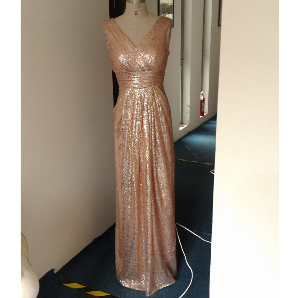 Aliexpress buy 2017 sequins bridesmaid dresses long rose aliexpress buy 2017 sequins bridesmaid dresses long rose gold champagne maid of honor wedding party dress cheap plus size vestido madrinha from ombrellifo Images