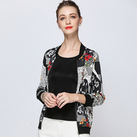 100% Шелковая куртка Женская легкая ткань с длинным рукавом, на молнии Повседневная куртка бомбер короткое пальто Модный Стиль Новая мода 2018
