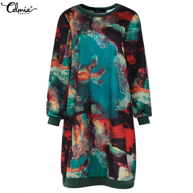 2018 Celmia Women Autumn Long Sleeve Print Vintage Dress Winter Velvet Pockets Casual Loose Midi Dresses Oversized Plus Size 5XL 4