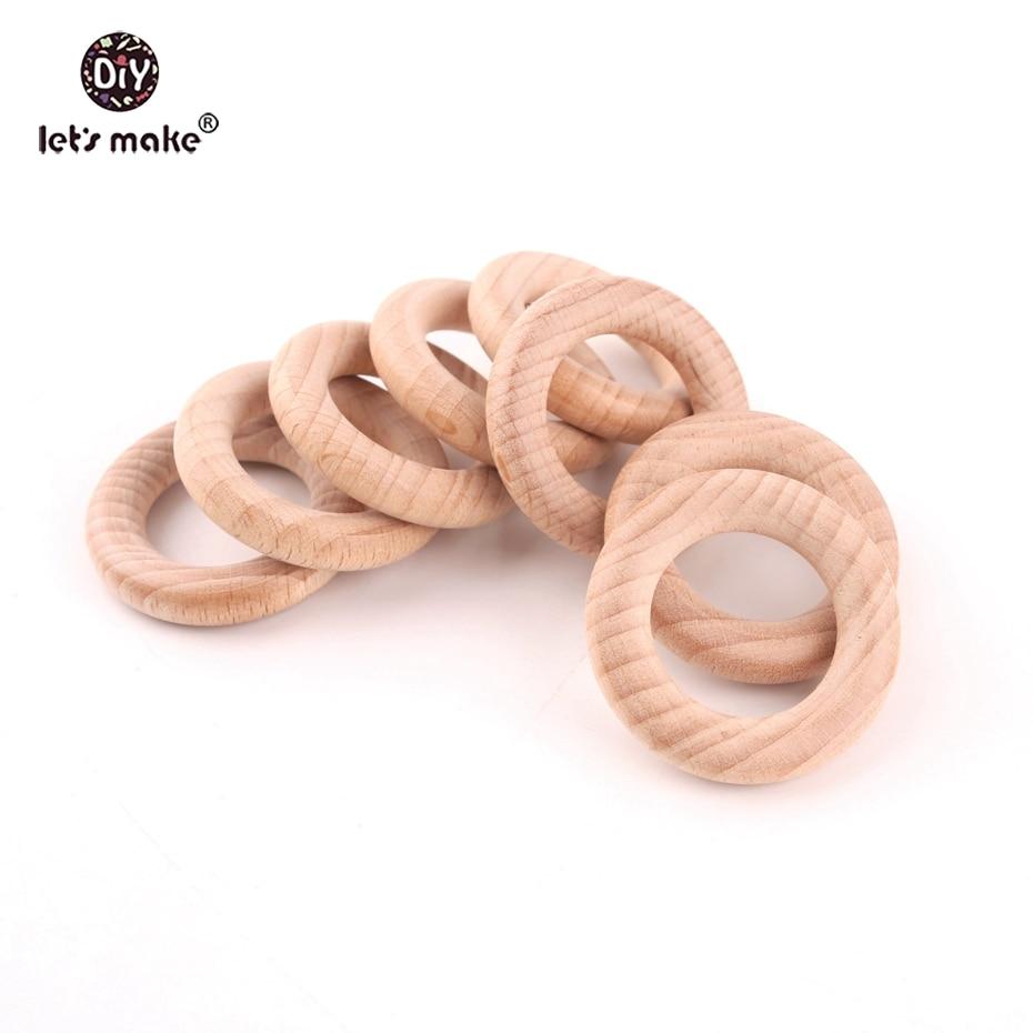 Let's Make Beech Wooden Teething Rings BPA Free Food Grade Wooden Teethers 20pcs 40mm DIY Accessories Rings Baby Teethers