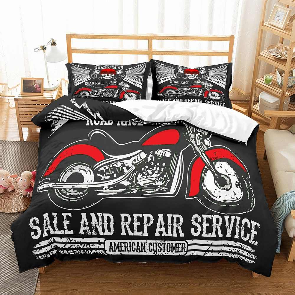 Motorcycle Bedding Set 3D Black/White Skull Road Race Sale and Repair Service Printed 3PCS Duvet Cover Set with 2 Pillow Sham