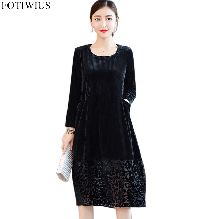 US $24.98 40% OFF|Winter Plus Size Dresses 2018 High Quality Fashion Autumn  Black Velvet Dress Women Casual Vintage Dress Robe Vestidos Mujer-in ...