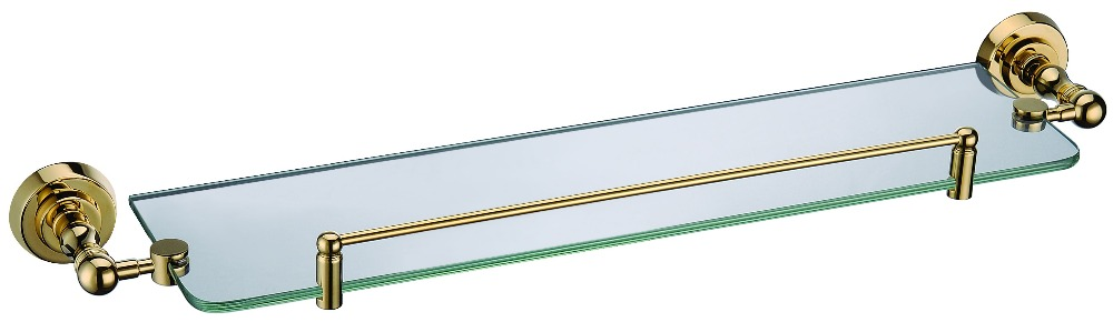 FREE SHIPPING new design 24k GOLD round base single glass shelf  D